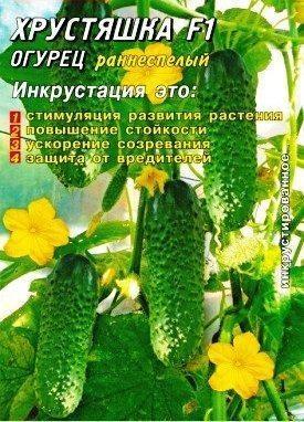 Семена Огурца Хрустяшка F1, 25 шт., Инкрустированные семена, ТМ Гелиос