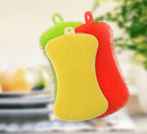 Мягкая силиконовая губка для мытья (жёлтая), 125х70 мм