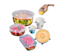 Силиконовые крышки для хранения продуктов (прозрачные), 6 шт.