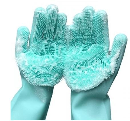 Силиконовые многофункциональные перчатки для мытья и чистки(бирюза)