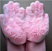 Силиконовые многофункциональные перчатки для мытья и чистки(розовые)